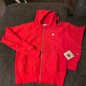 Red champion zip up hoodie